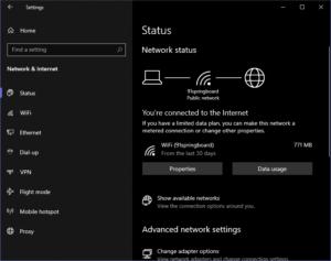 network status page windows update 2004