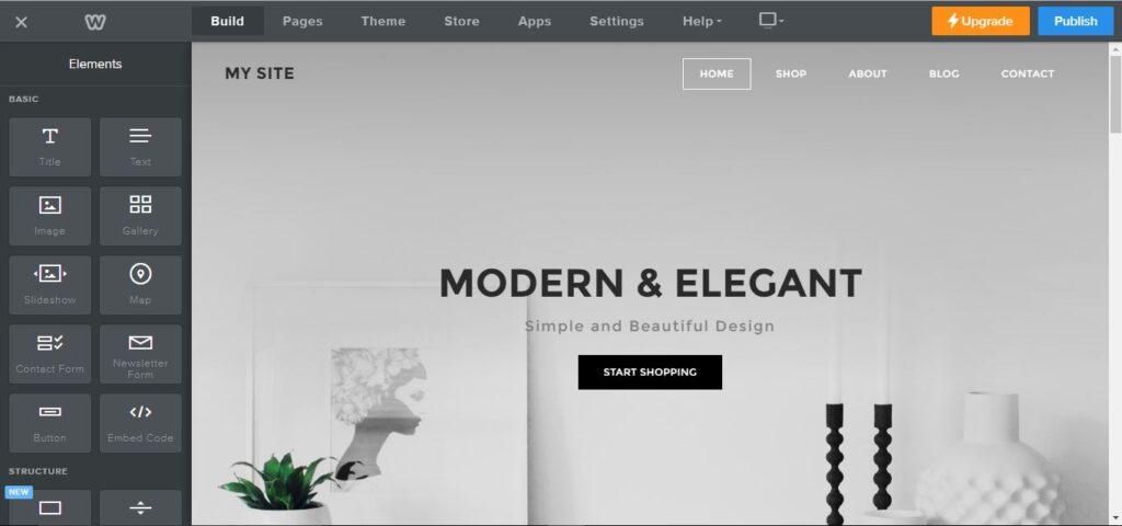 برامج تصميم مواقع الويب - Weebly