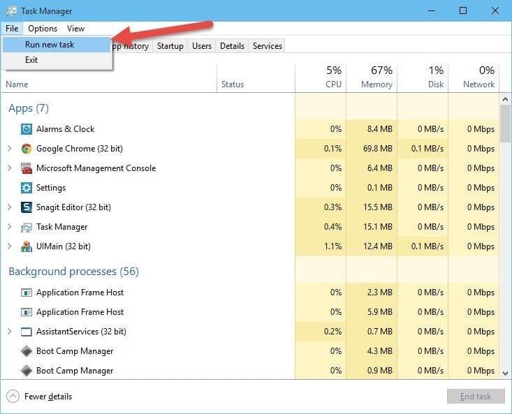 حل مشكلة الشاشة السوداء في ويندوز 10
